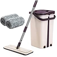 LayTmore Sided Free Hand Washing Flat Mop Wooden Floor Mop Dust Push Mop Home Cleaning Tools,1x Bucket,1x Mop Rack,2x Rag