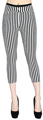 High Waist Damen Capri Hose 7/8 Skinny Pants / Slim Hose - Figurformend gestreift - CLG043-046 (38/M, CLG045)