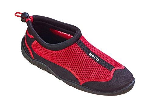 BECO Badeschuhe Surfschuhe Wattschuhe Strandschuhe Aqua Schuhe für Damen und Herren *Neue Kollektion (schwarz/rot, 46) (Herren-aqua-schuhe)