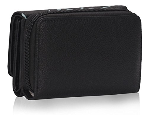 Xardi London Trifold-Portafoglio da donna con portamonete Notes-Clutch Bag Nero (nero)