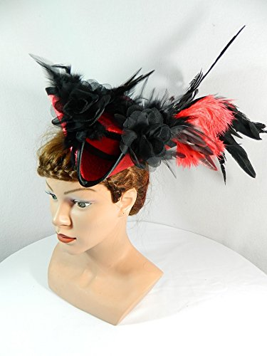 Mini Dreispitz rot schwarz Damenhut Fascinator Kopfschmuck Haarschmuck