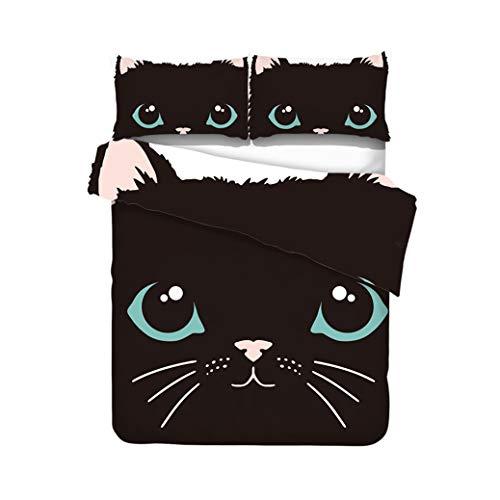 Sticker Superb Ropa de Cama Sencillo Diseño de Gato Negro Animal, Gatito Lindo Patrón de Dibujos Animados 3D, Funda Nórdica + Funda de Almohada(para Cama 90-150 cm (Gato 5, 220_x_240_cm)