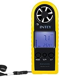 INTEY Digitaler Handwindmesser / Anemometer zur Messung der Windgeschwindigkeit und Temperatur mit dem hintergrudbeleuchtbare Display