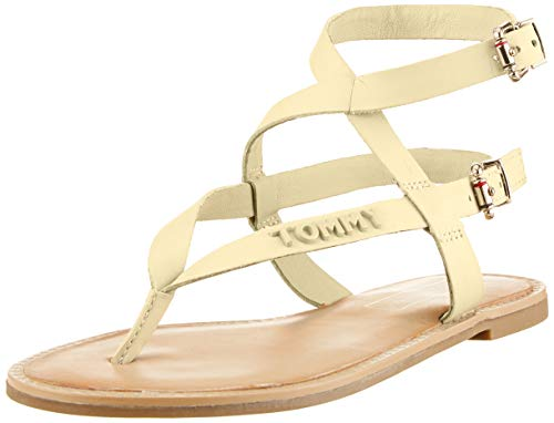 Tommy Hilfiger Iconic Flat Strappy Sandal, Chanclas para Mujer, Amarillo (Golden Haze 731), 38 EU