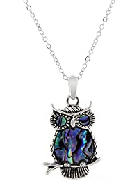 Natural Abalone Paua Shell Tawny Owl Necklace in delicate blue/green with 18