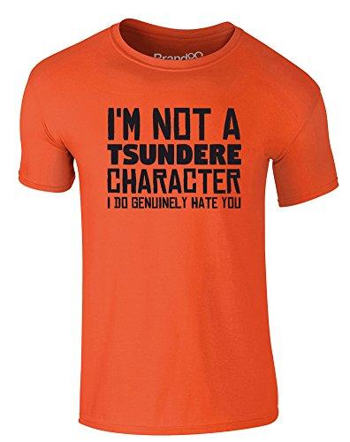 Brand88 - Tsundere Character, Erwachsene Gedrucktes T-Shirt Orange/Schwarz