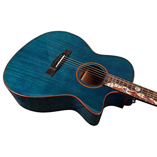 Boll-ATur 40-Zoll-Akustikgitarrenset in Originalgröße, Capo, E-Tuner, Gig-Bag, Tragegurt, Plektren Mahagoni-Platte im Desert Camel-Stil (Color : Blau)