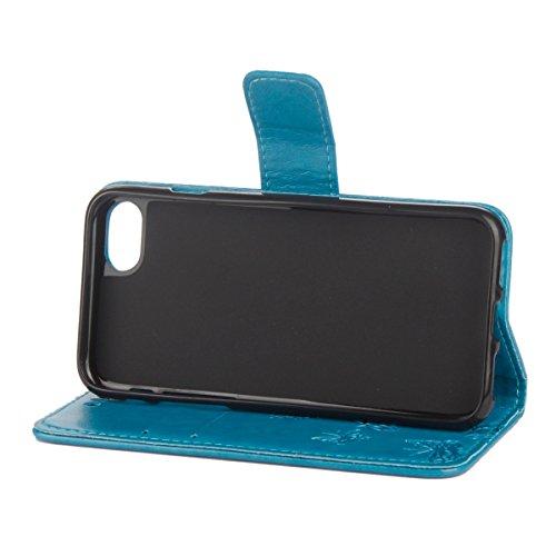 Custodia iPhone 6 Plus, ISAKEN Custodia iPhone 6S Plus, iPhone 6 Plus Flip Cover con Strap, Elegante borsa Albero Design in Sintetica Ecopelle Sbalzato PU Pelle Protettiva Portafoglio Case Cover per A Lotu: blu