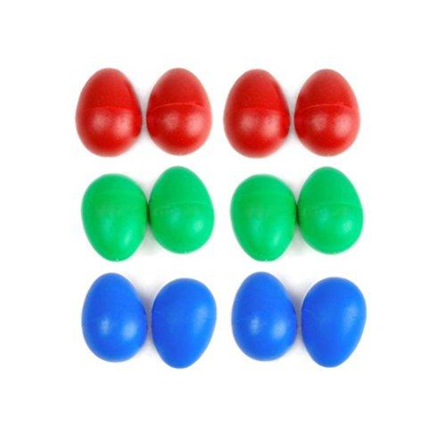 LEORX Percussioni in plastica uovo musicale Maracas uovo Shakers giocattoli per bambini per bambini 12pcs (colore casuale)
