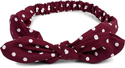 styleBREAKER Cinta para el Pelo de Mujer con Motivo de Lunares, Lazo Flexible y Goma elástica, Cinta para la Frente, Pinup, Rockabilly 04026036, Color:Burdeos-Rojo