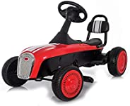 Pedal Car, 3-8 Year Old Kids Classic Outdoor Go Kart with Foot Pedal and Brake Lever, Red, C777