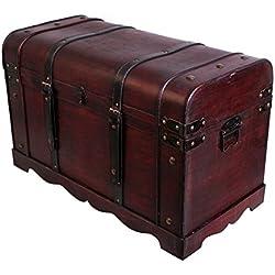 Cofre del Tesoro Cofre baúl Cofre del Tesoro Pirata Caja de madera con metal herrajes acabado antiguo Caja de madera baúl bar joyas Vino baúl Caja aspecto de madera caja joyas caja tamaño XL SK001