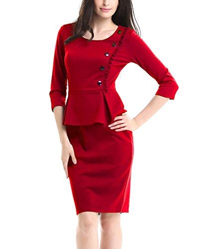 U8Vision Damen Elegant Rundhals Peplums 3/4 Arm Business Cocktail Kleider Casual Kleider Abendkleider Gr.S-XXXL Rot