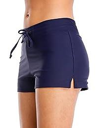 Attraco Pantalones Cortos de natación para Mujer, elásticos, Lisos, para Playa