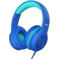 Mpow CH6 Auriculares para niños, Volumen Limitado en el oído Auriculares para niños con Conector de Audio de 3.5 mm para niños, niñas y niños, Auriculares con Cable Ajustable y Plegable con micrófono