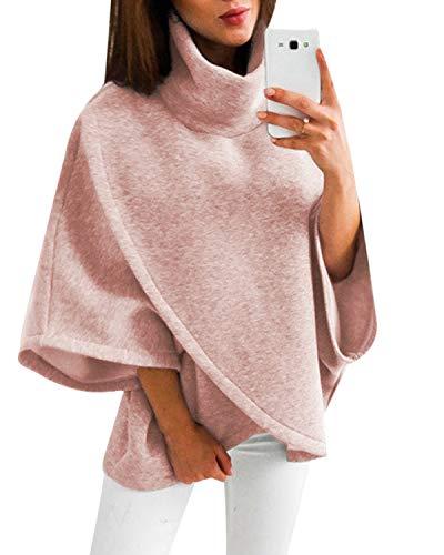 YOINS Damen Pullover Oberteil Poncho Winter Warm Asymmetrische für Damen Pulli Cardigan Sweatshirt Rollkragenpullover Langarm Rosa M