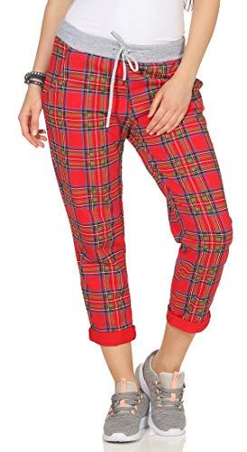 Grün-karo-hose (cleostyle Damen Jogginhose im Boyfriend-Style Sweatpants für Freizeit Sport und Fitness 9-2 (Karo/Rot Grün))