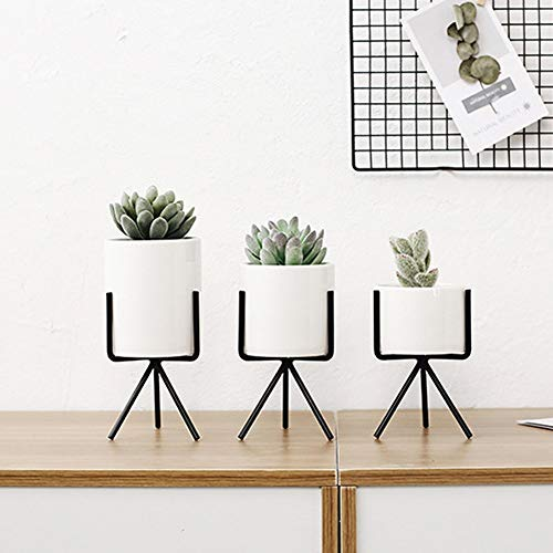 T-124124 Tritow Set von 3 stücke Keramik Blumen Pflanzgefäße mit Eisen Regal Sukkulenten Topf Home Dekorative Blumenvase ohne Loch -