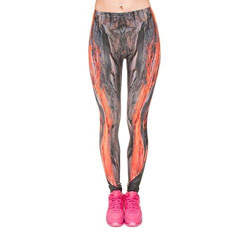 Hanessa Frauen Leggins Bedruckte Leggings Hose Frühling Sommer Kleidung Feuer Wasser-fall L114