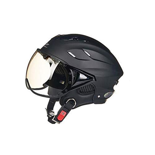 TZQ Frauenhelme Motorradhelme Männer Und Frauen Halbhelme Leichte Fahrradhelme Schutzhelme,Black-58~60cm