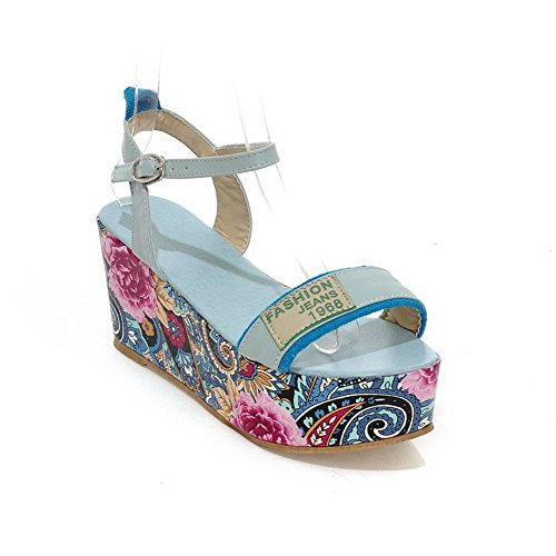 VogueZone009 Damen Schnalle Hoher Absatz Pu Leder Gemischte Farbe Sandalen Blau qa22SUVT