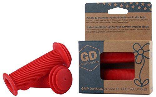 GD Grip Division® Kinder-Sicherheits-Fahrrad-Griffe mit Prallschutz | Phthalate frei | rot