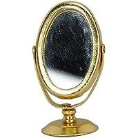 Espejo de casa de muneca - SODIAL(R) 1/12 espejo de afeitar de metal en miniatura de casa de muneca de color oro