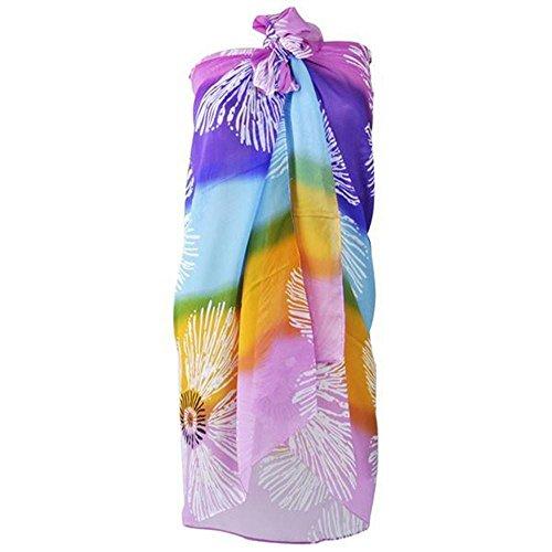 Damen Sarong Pareo Wickelrock Strandtuch Tuch Wickeltuch Strandkleid mit floralem Muster perfekt für Strandbesuch (Colorful)