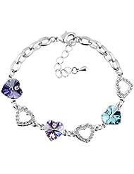 Le Premium - Pulseras con charms con cristales de swarovski morados oscuros, violetas y azul aquamarino
