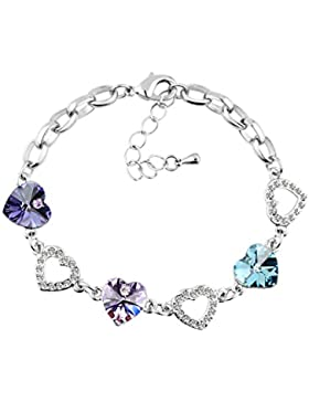 Le Premium® Herzen Link Armband Herzförmige SWAROVSKI Tansanit, Violett und Aquamarin