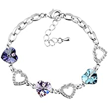 Le Premium® cuore del braccialetto di collegamento del cuore di Swarovski tanzanite, viola e acquamarina