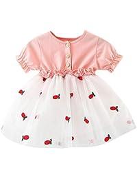 5e7dd0130 PinkLu Primavera Verano Rosa Rojo Niña Tul Bordado piña Manga Corta para  bebés Princesa Vestidos