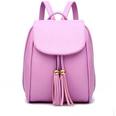 PU de cuero Simple moda OL Commuter Color sólido relieve bolsa mochila mujer Oval , purple taro