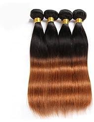 WDBS Tejidos Humanos Cabello Cabello Brasileño Recto 6 Meses 3 Piezas los tejidos de pelo , black/medium auburn