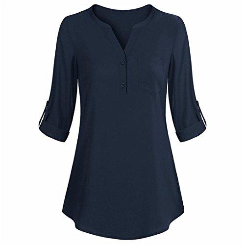 Kword magliette donna manica lunga top casual v collo camicia a strati camicette felpe donna casual t-shirt autunno camicetta camicia eleganti felpe tumblr donna (blu scuro, s)