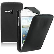 Negro Funda de Cuero para Samsung Galaxy Young (GT-S6310 / S6312 Duos / Dual / S6310L / S6310N) - Flip Case Cover Con Tapa + 2 Protector de