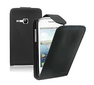 Noir Cuir Étui Coque pour Samsung Galaxy Young (GT-S6310 / S6312 Duos / Dual / S6310L / S6310N) - Flip Case Cover Pochette + 2 Membrane Films de protection d'écran