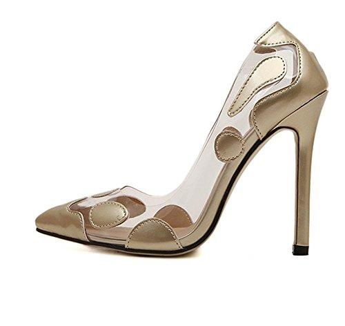 YMXJB Couleur de transparence européenne correspondant à hauts talons chaussures femme Gold