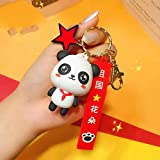 EsES Obsequio Creativo Estrella Roja Panda Colgante país Flor Flor Flor Fina Color Chino Llave botón Coche Ornamento, Panda con Bufanda roja