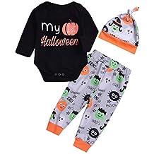 QinMM Conjunto de Body Tops + Pantalones + Sombrero de Halloween para bebé niña y niño