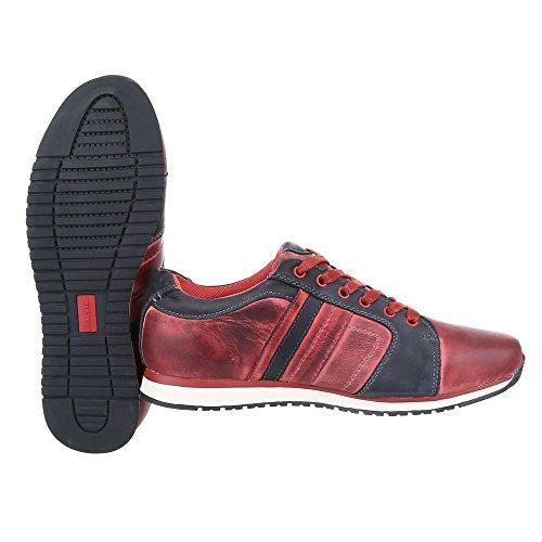 Ital-Design Turnschuhe Herren Leder Schuhe Low-Top Sneakers Schnürsenkel Sneaker Rot
