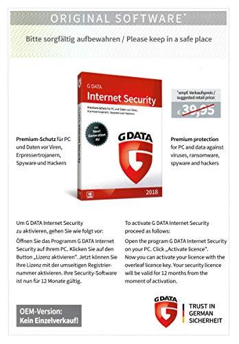 G DATA INTERNET SECURITY 2018 1-PC / 1-Jahr PKC (OEM) (auch gültig für 2019)