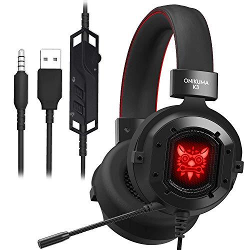 Auriculares Gaming,GAKOV Cascos Gaming con Reducción de Sonido y Control de...