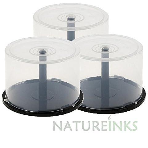 3X 50vide Boîte de rangement CD DVD Cakebox Coque en plastique pour DVD CD disque Blu-ray Spindle Boîte à gâteau (peut contenir 150Disques)
