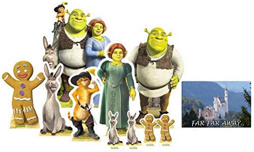 Pappaufsteller Offiziell Party-Packung mit 10 Stück (beinhaltet Shrek, Fiona, Donkey, Puss in Boots, Gingy und Shrek Group) Enthält 6X4 (15X10cm) starfoto ()
