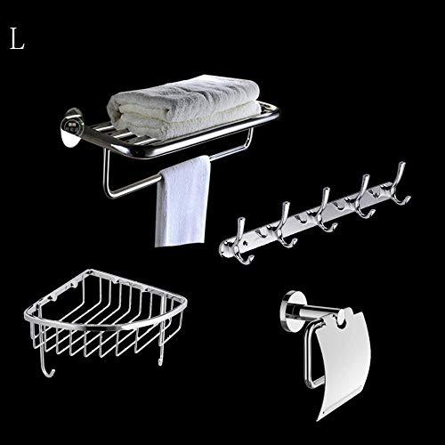 GWFVA Extrem Feste Dusche Regal Edelstahl Anhänger Set Handtuchhalter Toilettenpapier Box Zhiwu JIA hängenden Haken Badezimmer Hardware Rack Sets (insgesamt 4) Sicherstellung der Qualität (Farbe: -
