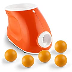 Idea Regalo - oneConcept Ballyhoo Set Macchina Lanciapalline Per Cani Automatica Elettrico + 5 Palline aggiuntive (Tre diversi livelli di gittata, funzionamento a corrente o a batteria, Gittata tra 3,6 e 10 Metri, 3 palline incluse) Arancione