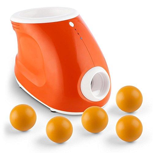 OneConcept Hunde Ballwurfmaschine + 5 Ersatzbälle Set (Toploaderfunktion, 3 Entfernungsstufen (3 m, 6 m, 10 m), 8 PU-Bälle, automatisch, Netz- oder Batteriebetrieb) orange