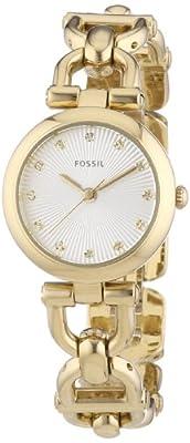 Fossil ES3349 - Reloj analógico de cuarzo para mujer, correa de acero inoxidable color dorado