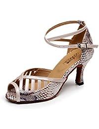 JSHOE Indoor Ballroom Dance Shoes Mujer Para Salsa Latin Tango Floral Satin Aproximadamente 7.5 Cm Talón,PhotoColor-heeled7.5cm-UK6.5...